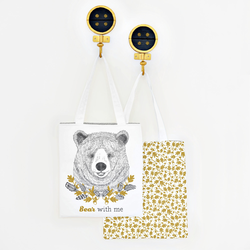 Bear with Me Tote Panel in Onyx and Gold