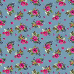 Small Jungle Floral in Blue Mist