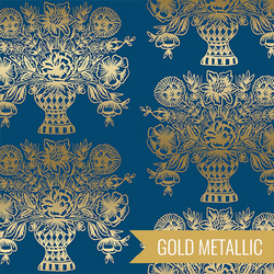 Vase Block Print in Navy Metallic