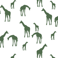 Giraffe Silhouette in Kale on White