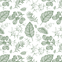 Foliage in Forest Green on White