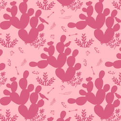 Cactus Silhouette in Fuchsia on Bubblegum