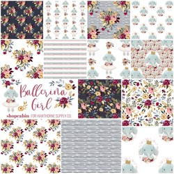 Ballerina Girl Fat Quarter Bundle in Eclipse and White