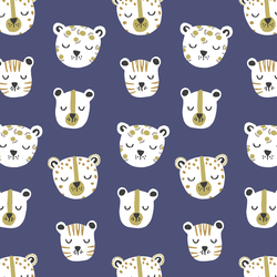 Jungle Cats in Indigo