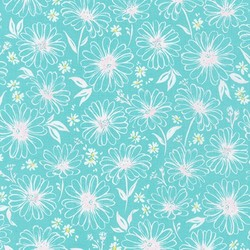 Daisy Sketch in Aqua