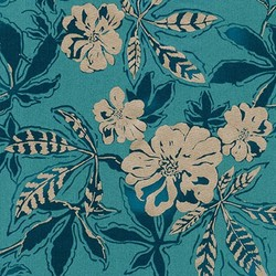 Floral Single Border in Ocean Pearlized