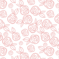 Tea Roses in Powder Pink on White