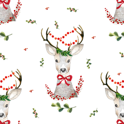 Fancy Holiday Deer in White