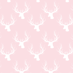 Little Deer Silhouette in White on Soft Pink