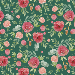 Wild Roses in Moss Green