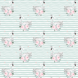 Small Blush Swans in Mint Green Stripes