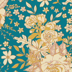 Floral Universe Rayon in Turquoise