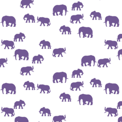 Elephant Silhouette in Ultra Violet on White