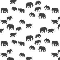 Elephant Silhouette in Onyx on White