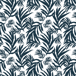 Large Palm Fronds in Deep Navy on White