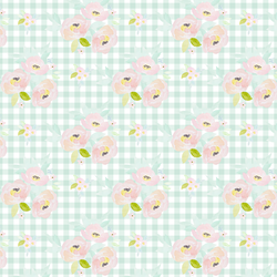 Little Blush Roses in Light Green Gingham