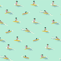 Tiny Surfers in Sea Foam