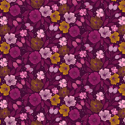 Flowers in Purple Multi