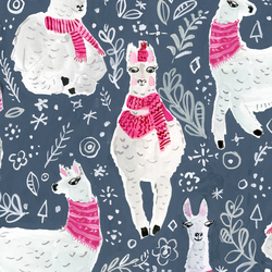 Winter Llamas in Moonlight