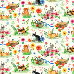 Cat Garden in Cream