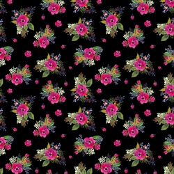 Small Jungle Floral in Black