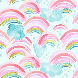 Large Rainbow Showers in Aqua Sky