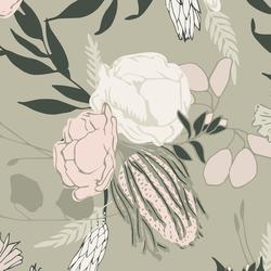 Large Emley Floral in Soft Lichen