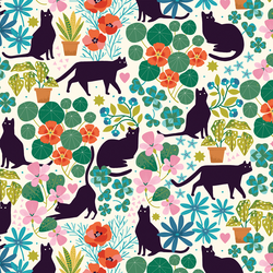 Feline Florals in Garden