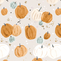 Pumpkins and Stars in Soft Gray