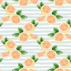 Citrus Slices in Iced Aqua Stripe