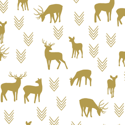Deer Silhouette in Gold on White