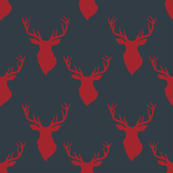Small Deer Silhouette in Berry Red on Inkwell