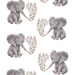 Baby Elephant in White