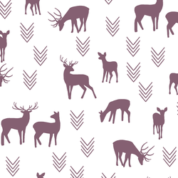 Deer Silhouette in Mulberry on White
