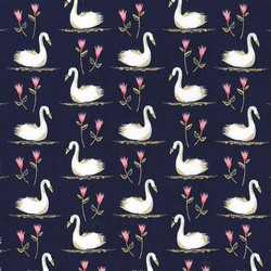 Swans a Swimming in Midnite Metallic