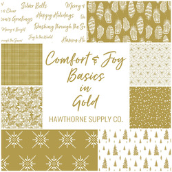Comfort and Joy Basics Fat Quarter Bundle in Gold