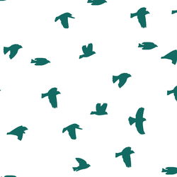 Flock Silhouette in Emerald on White