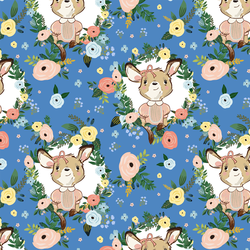Large Floral Girl Kangaroo in Bright Blue