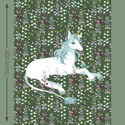Unicorn Quilt Panel in Dark Kale