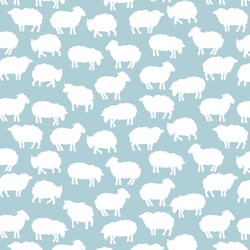 Sheep Silhouette in Powder Blue