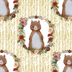 Woodland Bear in Honey Herringbone
