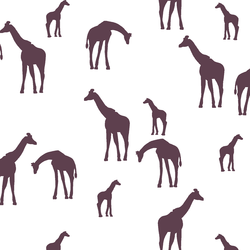 Giraffe Silhouette in Raisin on White