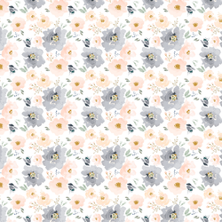 Tiny Full Bloom Floral in Peach and Navy
