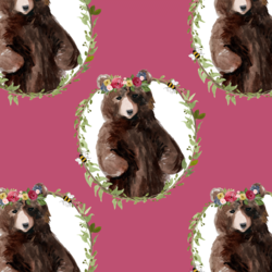 Floral Honey Bear Wreath in Magenta