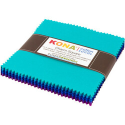 Kona Cotton Solids Charm Squares in Peacock