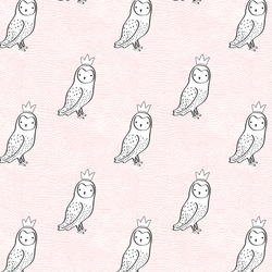 Small Crowned Owl in Sweet Pink and Onyx