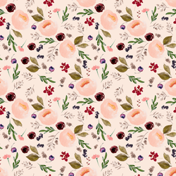 Small Trail Florals in Soft Peach