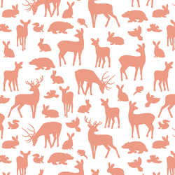 Forest Friends in Grapefruit on White