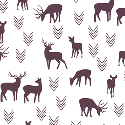 Deer Silhouette in Raisin on White