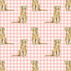 Little Girl Cub on Gingham Check in Pink Peach